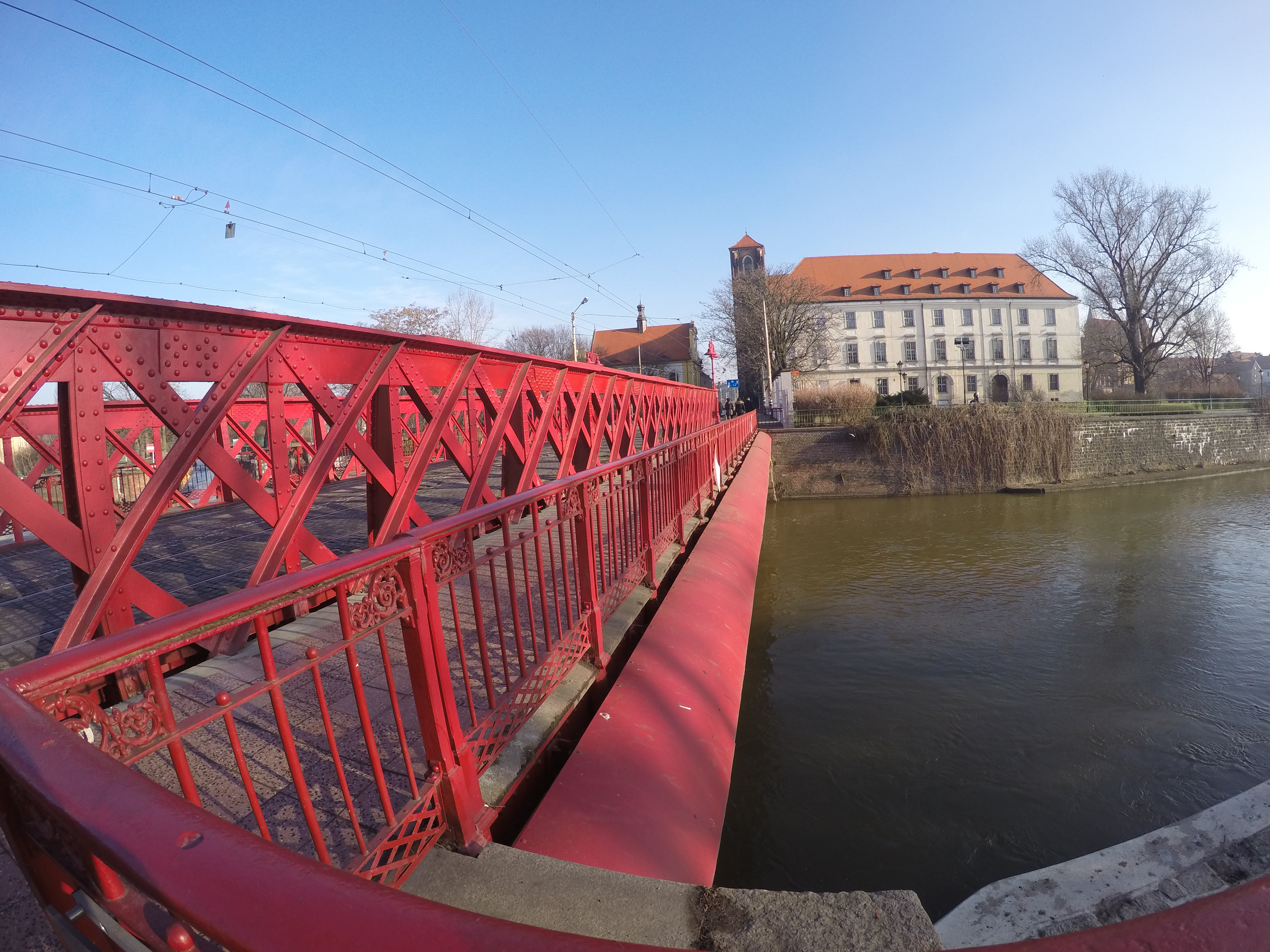 The red bridge over the river in Wroclaw