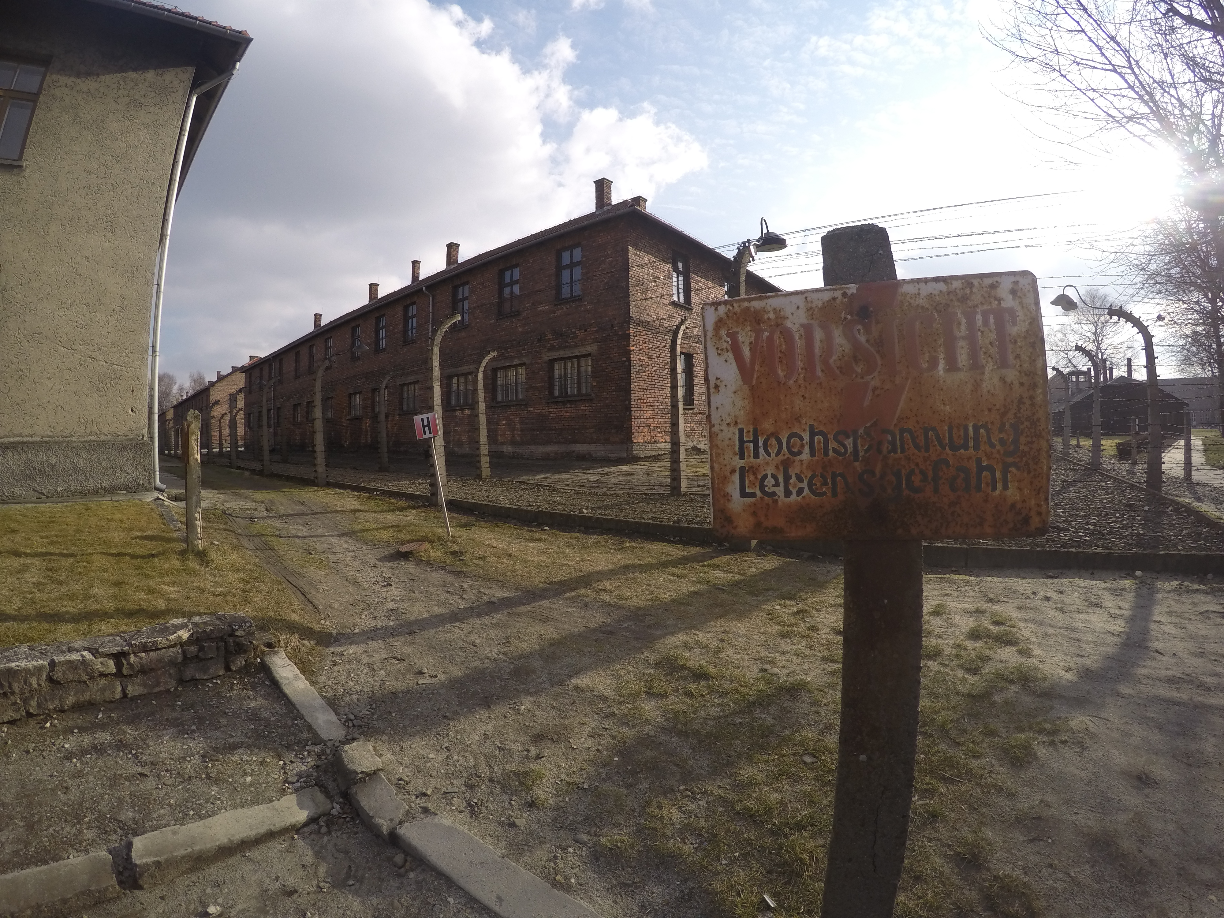 Auschwitz concentration camp from the outside