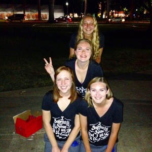 Big Little reveal! (Our shirts read I solemnly swear that I am up to Do Good)